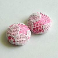 Button Earrings Pink Satin- White Lace