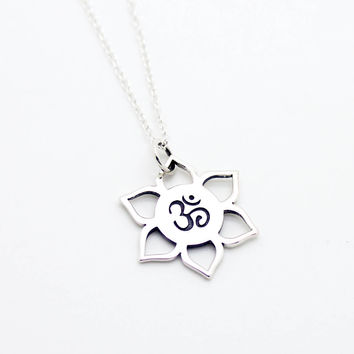 Om Lotus sterling silver necklace