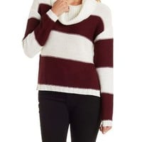 Striped Cowl Neck Sweater by Charlotte Russe