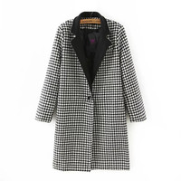 Black Houndstooth Pattern Single Button Coat