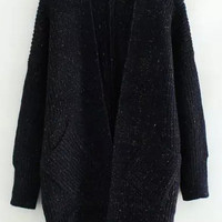 Navy Blue Long Sleeve Knitted Cardigan with Pocket