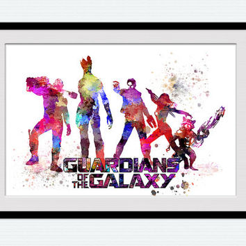 Guardians of the Galaxy poster Marvel comics watercolor print Superhero poster Home decoration Kids room wall art Nursery room decor W457