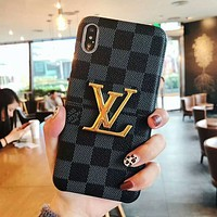 LV Trending Stylish Louis Vuitton Retro Soft Mobile Phone Cover Case For iphone 6 6s 6plus 6s-plus 7 7plus 8 8plus X XsMax XR Black Tartan