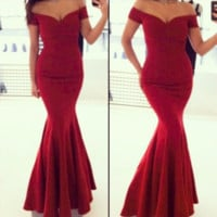 Elegant Red Bodycon Party Gown Dress