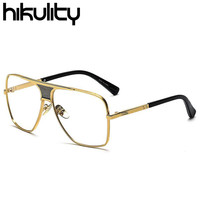 Oversized Square Gold Clear Glasses Frame Transparent Optical Spectacle Glasses Clear Eyewear Frames Men Luxury Brand Sunglasses