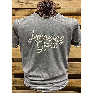 Southern Chics Apparel Amazing Grace Acid Wash Canvas Girlie Bright T Shirt