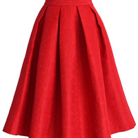 Jacquard Rose Pleated Midi Skirt in Red Red