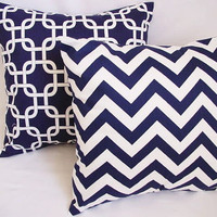 BOGO Sale - 2 Chevron and Suzani Decorative Throw Pillow Covers Blue and White - 18 x 18 inches Cushion Cover Accent Pillow