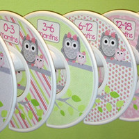6 Custom Baby Closet Dividers Organizers Pink Green Grey Owls Baby Girl Nursery Shower Gift - Clothes Dividers