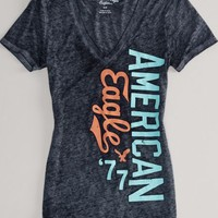 AEO Women's Signature Burnout T-shirt (True Black)