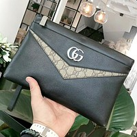 GUCCI Fashion New Letter Leather Cosmetic Bag File Package Handbag Black