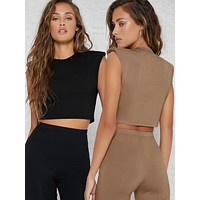 SHEIN Padded Shoulders Cropped Tank Top Set