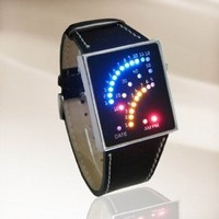 OrangeTag LED Watch Futuristic Japanese Style Multicolor LED Watch with Black Strap