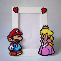 Valentine's Day Paper Mario Picture Frame - White Frame with Mario & Peach - Horizontal or Vertical