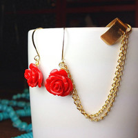 Summer Roses Ear Cuff Earrings with Gold Chain -  Red Flowers Bohemian Style Summer Fashion