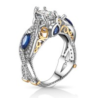 High Quality Big Blue CZ Zircon Silver Wedding Engagement Rings for Women Promise Ring Fashion Jewelry 2017 New