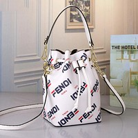FENDI Trending Women Stylish Leather Handbag Shoulder Bag Bucket Bag Satchel White
