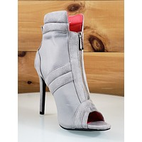 """CR June Gray Front Zipper 4"""" High Heel Ankle Boot Shoes"""