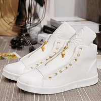 2017 Mens White/Black High Top Shoes Zipper and Skull Fashion PU Leather Footwear For Man Casual Shoe sapato masculino