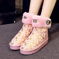 Genuine Leather Lace Fleece Flats Platform Snow Boots 5357