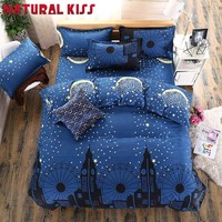 Fairy tale Bedding set Nordic Moon style Blue Star Castle Duvet Cover Set Fruit Printed Bed set Bed Sheet Bed Linen Bedcloth