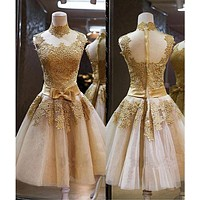 Gold Short Prom Dress, Homecoming Dresses, Graduation School Party Gown, Sweet 16 Dance Dress, Winter Formal Dress, DT0153
