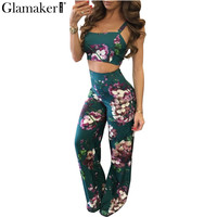 Glamaker Boho floral print jumpsuit romper Women backless crop top pants set two piece Casual summer beach rompers overalls