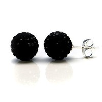 Sterling Silver 2 Carats Total Weight Black Crytal Ball Stud Earrings.