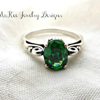 Emerald gemstone and  Fine silver, Sterling silver gemstone ring. High quality stone.