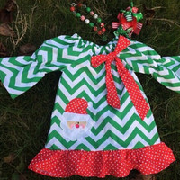 PERSONALIZED Christmas Dress, Chevron Christmas Dress, Toddler Christmas Dress, Red and Green Dress, Toddler Santa Dress, Christmas Dress