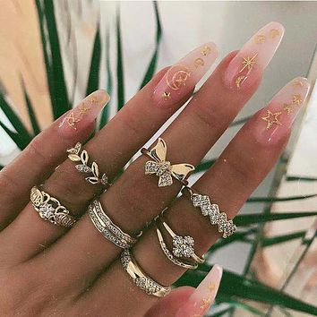 Vintage Gold Crystal Butterfly Flowers Leaves Geometry Ring Sets For Women Adjustable Fashion Rings Female Wedding Gift