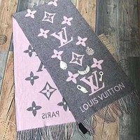 LV Louis Vuitton Autumn Winter Classic Popular Women Men Warm Cashmere Cape Scarf Scarves Shawl Accessories Grey Pink