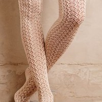 Lemon Pointelle Over-The-Knee Socks in Neutral Size: One Size Socks