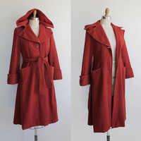 ON SALE Vintage 40s Rust Red Wool Trench Coat with Hood | small