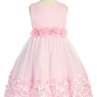 Girls Pink Mesh Overlay Dress with Taffeta & Chiffon Flowers 2T-8
