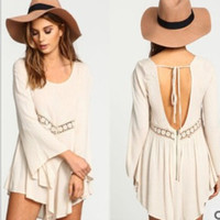 Flared Long Sleeve Backless Asymmetrical Mini Dress