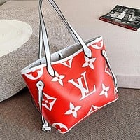 LV Louis Vuitton LV Newest Fashionable Women Shopping Bag Leather Shoulder Bag Handbag Satchel Red