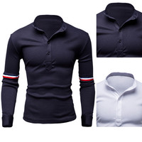 French Men Style Polo Long Sleeve Tee