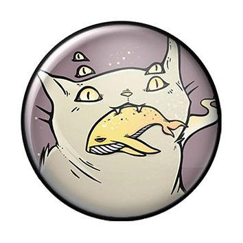 Cat And Whale, 1-Inch Pin Button