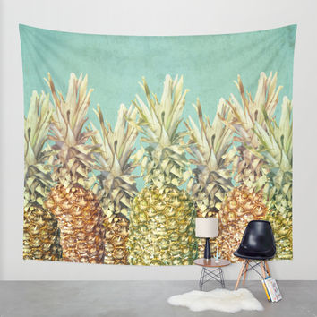 Pineapple Paradise Wall Tapestry by Lisa Argyropoulos