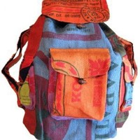 Large Colorful Recycled Rice Bag Backpack