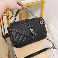 Hipgirls YSL New Vintage Black Letter Buckle Women's Crossbody Bag Shoulder Bag