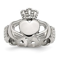 Stainless Steel Polished Braided Back Claddagh Ring