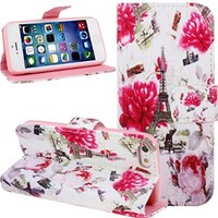 iPhone SE Case,iPhone 5S Case,NSSTAR Colorful Painted Drawing Luxury Fashion Flower Floral Pairs Eiffel Tower Pattern Wallet Pu Leather Flip Folio Stand Case Cover Pouch With Credit ID Card Holder Slots for Apple iPhone SE 2016 & iPhone 5S 5 (Flower Tower)