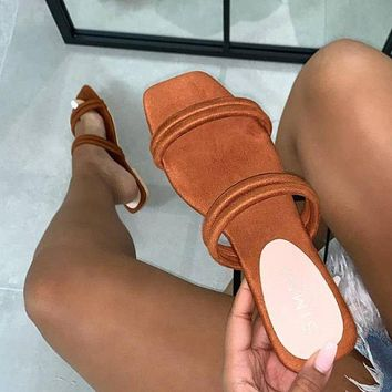 Summer new style large size suede flip flops flat bottom women's slippers beach shoes slippers