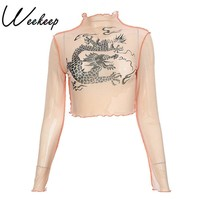 Weekeep Fashion Chinese Dragon Print Long Sleeve t shirt Sexy Perspective Turtleneck tshirt Cropped Patchwork tee shirt femme