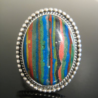 Vintage CALSILICA Sterling Silver RAINBOW Ring