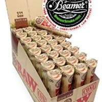 72 Raw ORGANIC Cones Pre-Rolled Rolling Papers, Raw ORGANIC Natural Unrefined Cones Rolling Paper 1.25 Size, 12 Packs of 6 Cones + Beamer Smoke Limited Edition Sticker