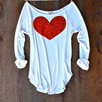 Sequin Heart Patch Dazzle Patch Slouchy Pullover T Shirt in White w/ Red Heart Sequin Patch Womens Holiday Shirt Valentines Day Gift Idea