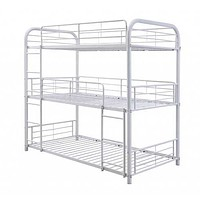 "42"" X 79"" X 74"" White Metal Triple Bunk Bed - Twin"